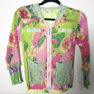 Alberto Makali Floral Zip Green Pink Jacket Top